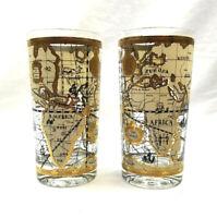 Vintage Cera Old World Nautical Map Gold Mid Century Highball Glass set of 2
