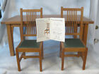 Vintage Stickley T.C. Timber Mission Oak Table & 2 Doll Side Chairs 1998 w/ COA