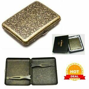 Vintage Metal Cigarette Case Box Gold Men Tobacco Holder for 20s 85mm King Size
