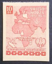 POLAND STAMPS  - Day of the sea - colonies, 1943, **