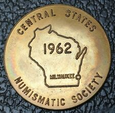 1962 MILWAUKEE NUMISMATIC SOCIETY MEDAL - Central States - Nice Tone