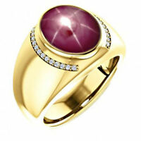 22K Solid Yellow Gold Natural Star Ruby Diamond Gemstone Men's Ring Jewelry