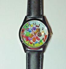Candy Crush Game Black Genuine Leather Band Wrist Watch