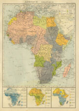COLONIAL AFRICA Afrique. League of Nations Mandates. Ethnicity 1931 old map