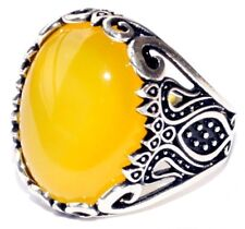 925 Sterling Silver Men's Ring with Absolutely Handmade Real Citrine