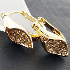 Earrings Real 18k Yellow G/F Gold Ladies Diamond Simulated Huggie Hoop Design