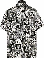 LA LEELA camp Hawaiian Shirt Men Casual Button down Pocket aloha Black_W461 2XL