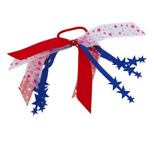 Lux Accessories Red White Blue Pink America USA Stars Ribbon Elastic Hair Tie