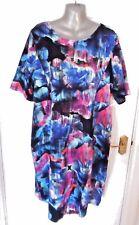 ❤ ANTHOLOGY Beautiful Size 20 Black Multi Mix Stretchy Dress Back Zip Bust 48 in