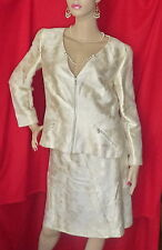 CHANEL Camelia 01P Faux Pearl Off White Cotton Silk A Line Skirt Suit 44 42