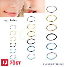 2-8PCS 18G Nose Cartilage Ring Tragus Septum Surgical Steel Piercing Hoop 6-10mm