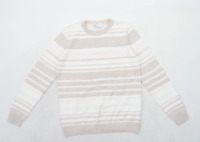 BHS Womens Size 10 Striped Cotton White Jumper (Regular)