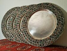 4 CHARGERS vtg middle eastern tibetan silver gemstone islamic cresent table art