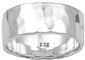 Hammered Finish-Silver 925 Band (Wedding)8mm-Men & Women-NWT- Size Selectable