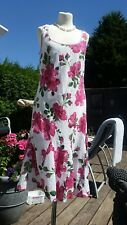 White Pink Floral Dress Size 10 EAST Indian Cotton Full Length Maxi VGC