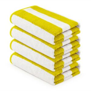 4 pieces Pack- 30x60 inches-Large Pool/Beach Cabana Yellow Towels by MIMAATEX