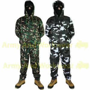 Mens Army Camo Print Hoody & Combat Joggers Fleece Camouflage Military Tracksuit