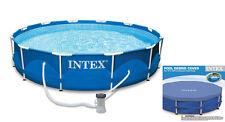 Intex 10 x 2.5 Foot Metal Frame Swimming Pool Set w/ Filter Pump + Debris Cover