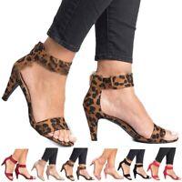 Womens Ladies Wedge Low Block Heel Black Sandals Ankle Strap Work Smart Shoes US