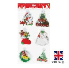6 x CHRISTMAS WINDOW PLAQUES Reusable Window Stickers Clings Decoration XMA1705