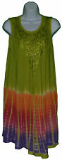 Short Dress Fits S M L XL Tie Dye Womens Bathing Suit Cover up Green Pink NWT