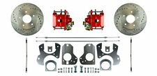 AFXRD78Z Rear Disc Disk Brake Conversion Kit Drilled Slotted Rotors Red Calipers