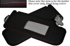 RED Stitch accoppiamenti SEAT LEON TOLEDO ALTEA 06-11 2x SUN VISIERE IN PELLE copre solo