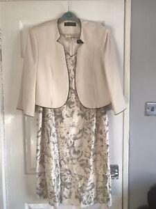 JACQUES VERT DRESS & JACKET SUIT WEDDING OUTFIT  & Fascinator Size 20 RRP £308