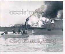 1964 Firemen in Boat Watch Flooded Burning Yank Home Nehalem OR Press Photo