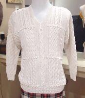 Women's Hand Knit Ramie Cotton Sweater Cream Sz L Express