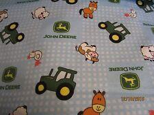 John Deere  baby toddler sheets set  tractors & animals tossed flannel blue