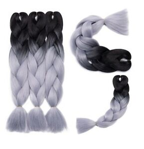 """Synthetic Braid Hair Extensions 24"""" 100g bundle black to grey ombré effect - NEW"""