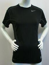 Nike Pro Combat Mens Black Dri-Fit Mesh Panels Fitted Short Sleeve Top - S
