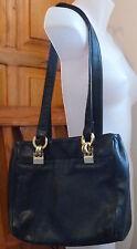 LORD & TAYLOR * Black Leather SHOULDER BAG Large HANDBAG Gold-tone Hardware