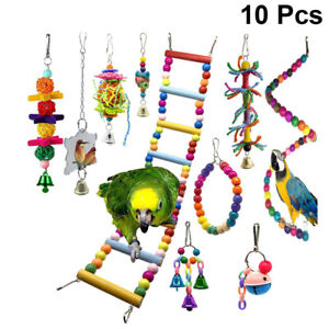 10 Packs Bird Swing Chewing Toys Parrot Hammock Bell Toys Parrot Cage Toy Bird