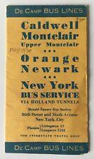 Vtg 1930 DeCamp Bus Motor Coach Timetable Brochure Montclair Orange Newark Nyc