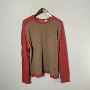 Benson Mens L/XL? 100% Cashmere Crewneck Sweater Colorblock Brown Gray Red FLAW
