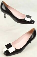 NWD CELINE 38.5 8.5 Shoes Italy Black White Leather Kitten Heel Pumps Square Toe