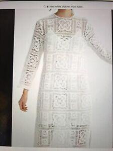 Zara Ivory Crocheted Long Tunic L
