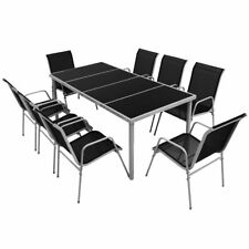 vidaXL Outdoor Dining Set 9 Piece Black Patio Furniture Table Stackable Chair
