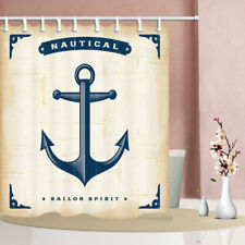 Nautical anchor retro style Waterproof Fabric Bathroom Shower Curtain & 12 Hooks