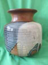 POTTERY CRAFT VASE BLUE + OFF- WHITE+ BROWN MADE IN USA STONEWARE 6