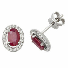 Unbranded 9 Carat Ruby White Gold Fine Earrings