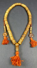 ANTIQUE STYLE DISK BEAD WATER BUFFALO BONE SMALL MALA WITH COUNTERS. FROM NEPAL