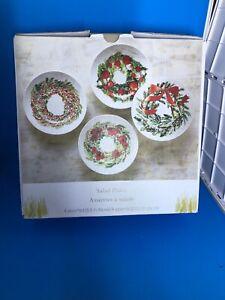 "Pier 1 Imports Christmas Assortes Salad Plates Set Of 4 NIB 8.5"" Dia"