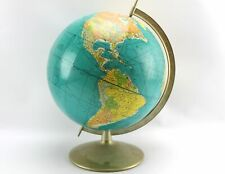 Vintage 1960s Rand McNally World Globe Metal Base Travel Routes Tanganyika