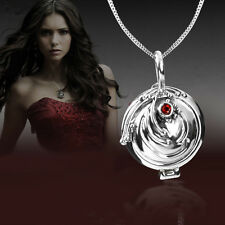 Beauty Vampire Diaries Elena Red Silver Crystal Charm Pendant Necklace