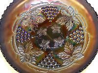 Vintage Fenton Amethyst Grape & Cable Carnival Glass Bowl Tripod Base