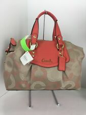 Coach Bag Ashley Satchel Dotted Op Art Khaki & Tearose Sateen Leather F20027 B2F