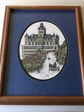 """Debbie Patrick Framed Victorian House """"Cliff House"""" Etching Print, Signed"""